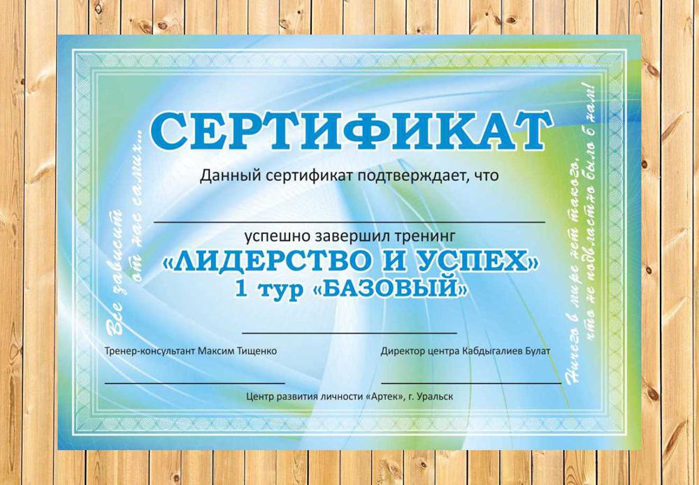 Дизайн сертификата грамоты диплома КС ЭВЕРЕСТ  Сертификат для тренингового центра АРТЕК для тренинга ЛИДЕРСТВО И УСПЕХ 1 ТУР